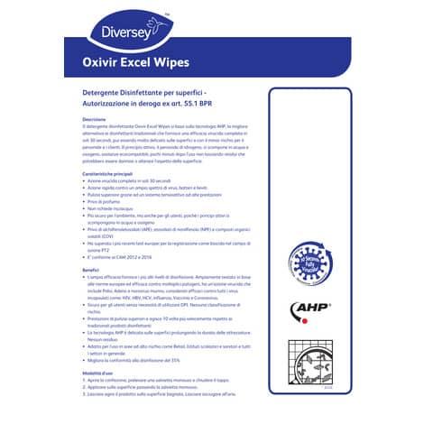 Salviette detergenti disinfettanti per superfici Diversey Oxivir Excel Wipes - Conf. 100 salviette - 101104775 Immagine del prodotto Produktdatenblatt XL