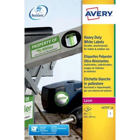 Etichette permanenti in poliestere Avery A4 - 210x297mm bianco Laser 20 et./foglio Conf. 20 fogli - L4775-20