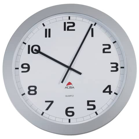 Orologio da parete Alba cassa in ABS grande diam., cifre nere, lente in vetro 2 lancette nere. Grigio argento-HORGIANT