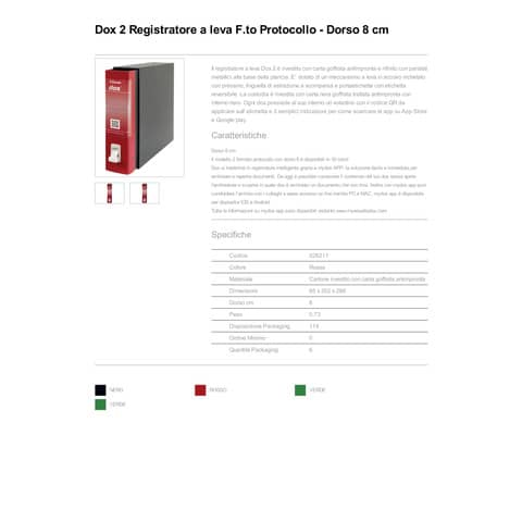 Registratore a leva DOX2 Protocollo 28,5x35 cm - dorso 8 cm rosso D26211 Immagine del prodotto Produktdatenblatt XL