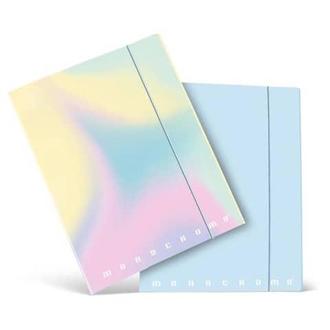 Cartella a 3 lembi con elastico PIGNA Monocromo Pastel in cartoncino con dorso 1,2 cm 26x34,5 cm assortiti - 02299023L