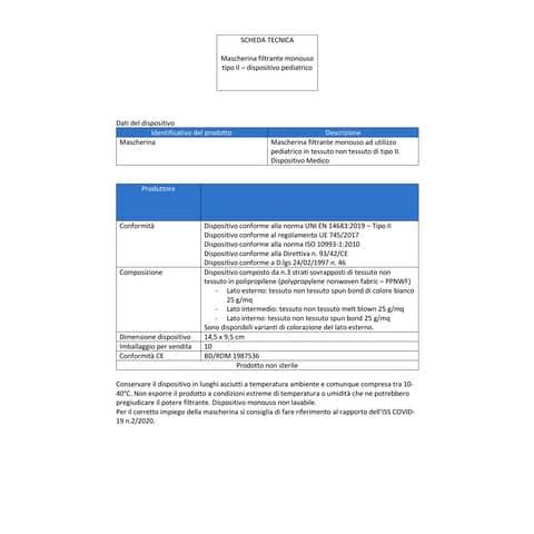 Mascherine chirurgiche monouso per bambini tipo II - Certificazione CE - colore celeste - Conf. 30 pezzi - 33233 Immagine del prodotto Produktdatenblatt XL