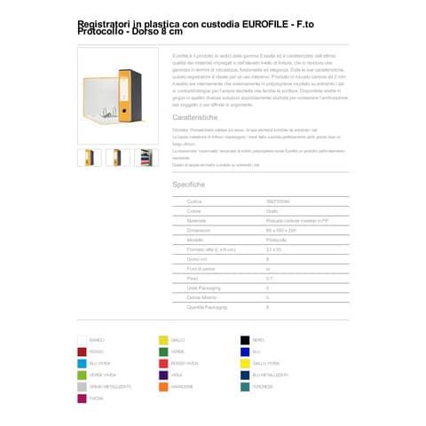 Registratore con custodia Esselte G55 Eurofile protocollo dorso 8 cm cartone rivestito in PP giallo - 390755090 Immagine del prodotto Produktdatenblatt XL