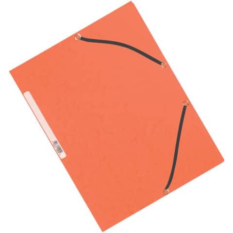 Cartellina a 3 lembi con elastico Q-Connect 24,3x32 cm cartoncino manilla 375 g/m² arancio - KF02170
