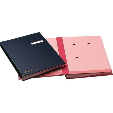 Libro firma 18 intercalari FRASCHINI 24x34 cm in dermoide con porta etichetta intercambiabile blu - 618-D-DB