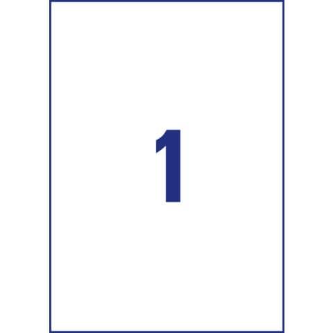 Etichette permanenti in poliestere Avery A4 - 210x297 mm bianco Inkjet 1 et./foglio Conf. 10 fogli - J4775-10