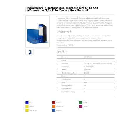 Registratore con custodia Esselte G85 Oxford protocollo 29,5x35 cm - dorso 8 cm blu - 390785050 Immagine del prodotto Produktdatenblatt XL