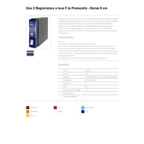 Registratore a leva DOX2 Protocollo 28,5x35 cm - dorso 8 cm blu D26204 Immagine del prodotto Produktdatenblatt XL