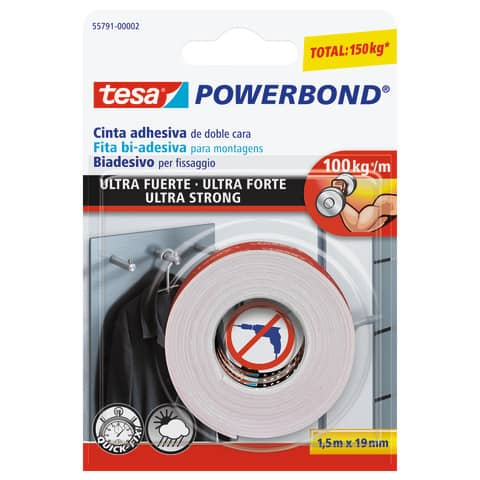 Nastro biadesivo tesa Powerbond® ULTRA STRONG 19 mm x 1,5 m bianco 55791-00002-01