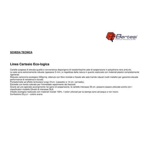 Cartelle sospese orizzontali per cassetti CARTESIO ECO 39 cm fondo V avana Conf. 25 pezzi - 100/395-A1 Immagine del prodotto Produktdatenblatt XL