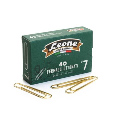 Fermagli Leone acciaio ottonato N. 7 1,6x75 mm rotondi ottone scatola da 40 pz. - FO7