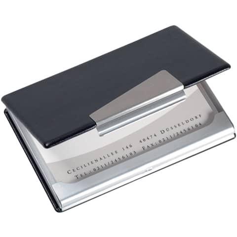 Visitenkartenetui Visitenkartenbox Lederoptik Aluminium 2