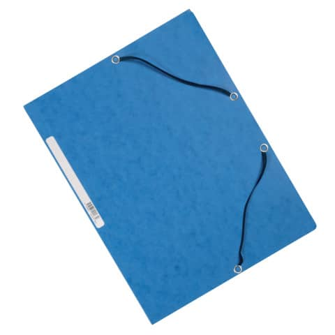 Cartellina a 3 lembi con elastico Q-Connect 24,3x32 cm cartoncino manilla 375 g/m² blu - KF02167