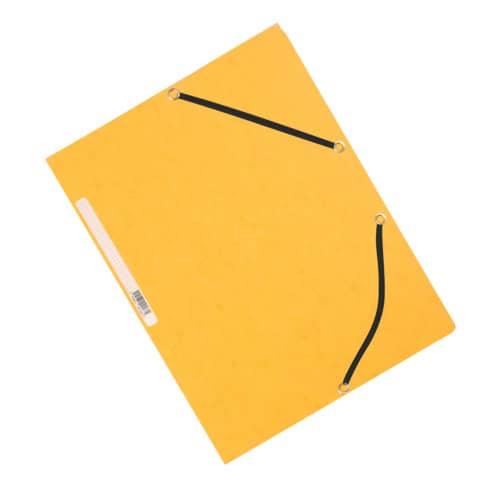 Cartellina a 3 lembi con elastico Q-Connect 24,3x32 cm cartoncino manilla 375 g/m² giallo - KF02166