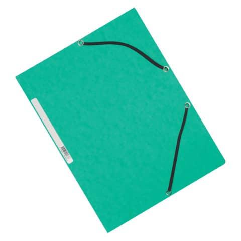 Cartellina a 3 lembi con elastico Q-Connect 24,3x32 cm cartoncino manilla 375 g/m² verde - KF02168