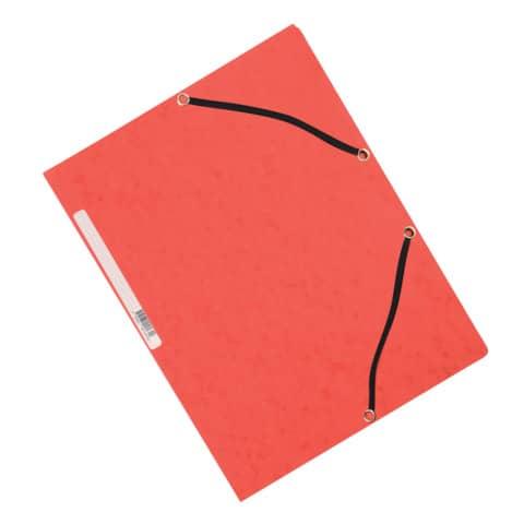 Cartellina a 3 lembi con elastico Q-Connect 24,3x32 cm cartoncino manilla 32x24,3 cm 375 g/m² rosso - KF02165