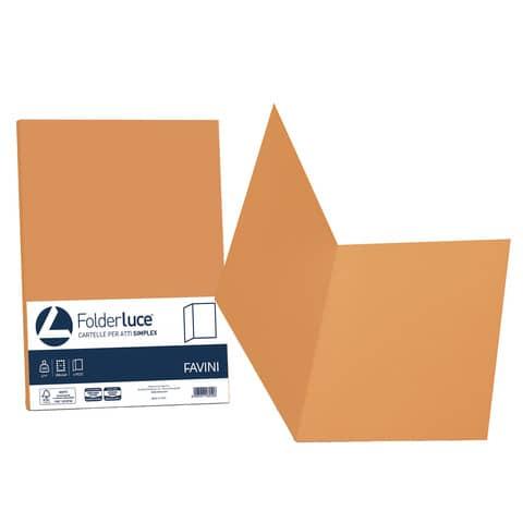 Cartellina semplice FAVINI FOLDER S cartoncino Simplex Luce&Acqua 200 g/m² 25x34cm arancio 56  conf.50 - A50E664