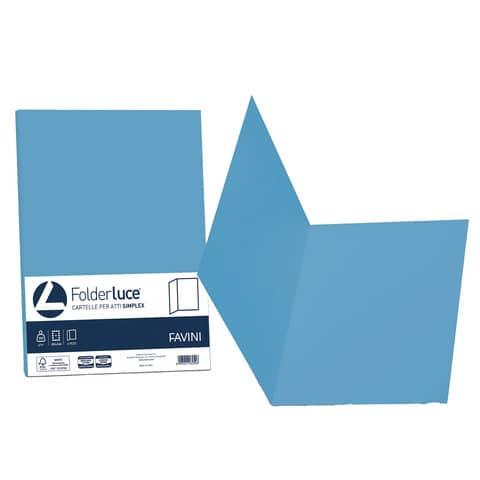 Cartellina semplice FAVINI FOLDER S cartoncino Simplex Luce&Acqua 200 g/m² 25x34cm azzurro 55  conf.50 - A50G664
