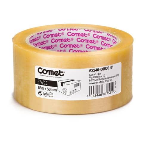 Nastri adesivi per la spedizione Comet n PVC con adesivo in gomma naturale 50mm x 66m trasparente - 62240-00008-01