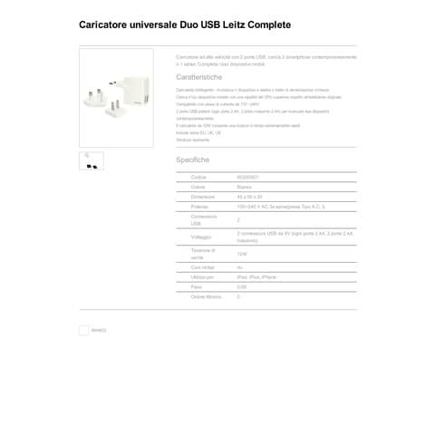 Caricatore da muro Universale con 2 porte USB - 12W Leitz bianco 65200001 Immagine del prodotto Produktdatenblatt XL