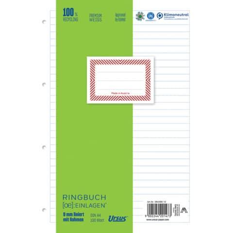 Ringbucheinlage A4 100 Blatt liniert m.Rahmen URSUS OE 084499 10 Produktbild