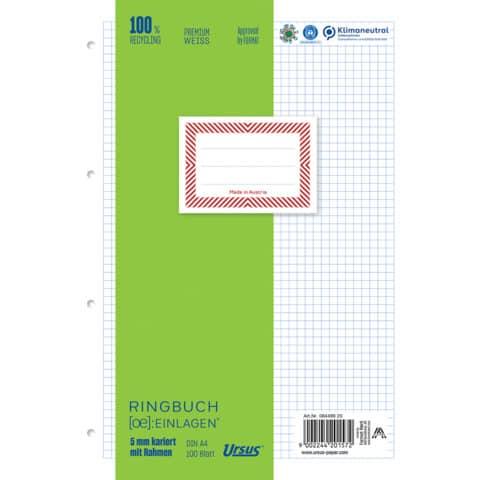 Ringbucheinlage A4 100 Blatt kariert mit Rahmen URSUS OE 084499 20 Produktbild