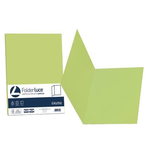 Cartellina semplice FAVINI FOLDER S cartoncino Simplex Luce&Acqua 200 g/m² 25x34cm pistacchio 54  conf.50 - A50M664