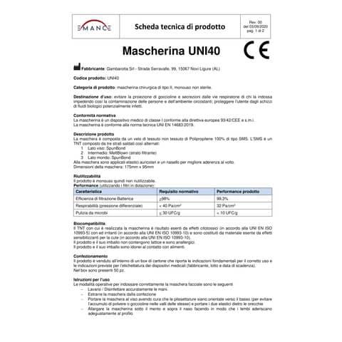 Mascherine chirurgiche monouso bianche Tipo II - Autorizzate dal Ministero della Salute - Conf. 50 pezzi - UNI 40 Immagine del prodotto Sicherheitsdatenblatt XL