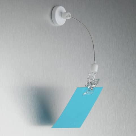 Supporto espositivo magnetico deflecto® in plastica con pinza trasparente blister da 10 pezzi - WYSH16-10