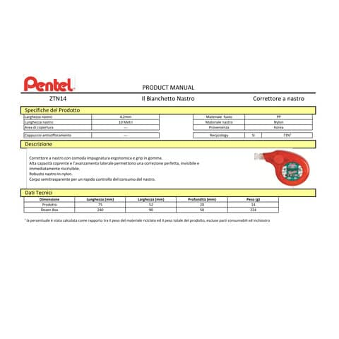 Correttore a nastro Pentel Il Bianchetto 4,2 mm x 10 mt - bianco conf. 4 pezzi - 0100819 Immagine del prodotto Produktdatenblatt XL