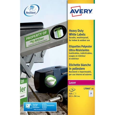 Etichette permanenti in poliestere Avery 63,5x38,1 mm bianco Laser 21 et./foglio Conf. 20 fogli - L7060-20