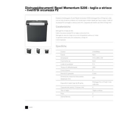 Distruggidocumenti Rexel Momentum S206 taglio a strisce 2104568EU Immagine del prodotto Produktdatenblatt XL