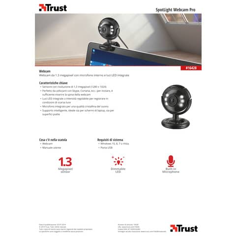 Webcam USB 2.0 1,3 megapixel con luci LED Trust SpotLight Pro nero 16428 Immagine del prodotto Produktdatenblatt XL