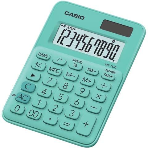 Calcolatrici da tavolo CASIO 10 cifre solare batteria verde MS-7UC-GN
