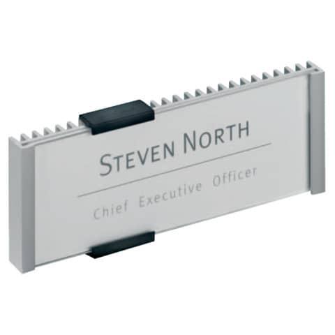 Targhe DURABLE INFO SIGN alluminio/acrilico trasparente/argento metallizzato 149x52,5 mm - 480023
