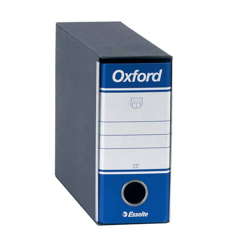 Registratore con custodia Esselte G81 OXFORD memorandum 29,5x19cm - dorso 8 cm blu - 390781050