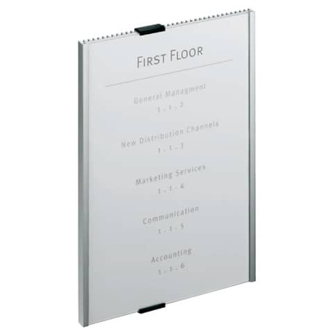 Targhe DURABLE INFO SIGN alluminio/acrilico trasparente/argento metallizzato A4 verticale - 480623