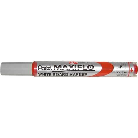 Marcatore per lavagne bianche Pentel MAXIFLO punta conica 4,0 mm rosso MWL5S-B
