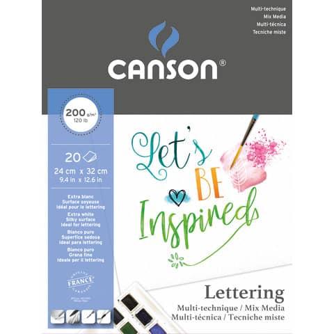 Blocco Canson Lettering Mix Media 200 g/m² 24x32 cm - 30 fogli C400109829