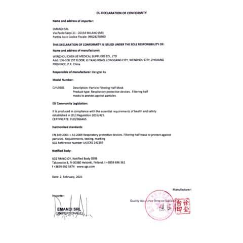 Mascherine monouso FFP2 bianche - Certificazione SGS CE0598 - Scatola da 20 pezzi, singolarmente imbustati Immagine del prodotto Produktdatenblatt XL