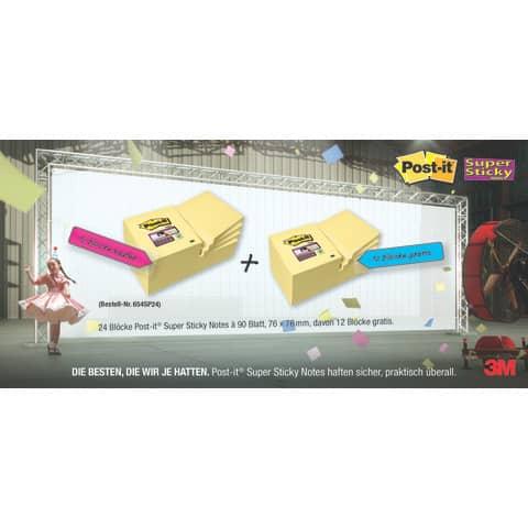 Foglietti riposizionabili Post-it® 654 Canary Yellow 76x76 mm - Value Pack 12 pad + 12 pad OMAGGIO - 7100172240 Immagine del prodotto Produktabbildung aufbereitet 1 XL