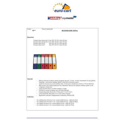 Registratore protocollo TOPToo con custodia dorso 8 cm blu 23x33 cm - RMP8BL Immagine del prodotto Produktdatenblatt XL