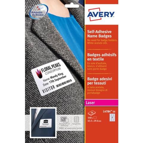 Badge adesivi in seta acetata AVERY 63,5x29,6mm 20 fogli - L4784-20