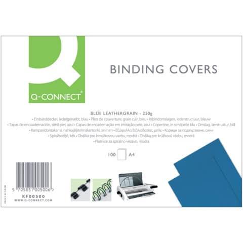 Copertina per rilegatura Q-Connect A4 250 g/m² blu goffrato Conf. 100 pezzi - KF00500