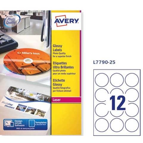 Etichette bianche lucide Avery Ø 60 mm - 12 et./foglio - stampanti laser - conf. 25 fogli - L7790-25 Immagine del prodotto