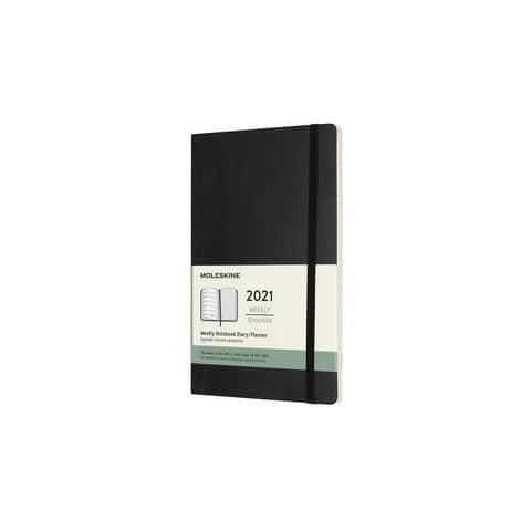 Agenda 2021 12 mesi settimanale large 13x21 cm copertina morbida Moleskine nero DSB12WN3Y21 Immagine del prodotto