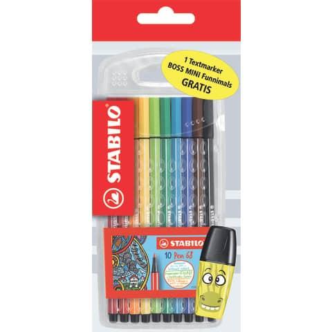 Fasermaler Pen 68 10 Stück STABILO D/87-2857 inkl. Boss Mini Produktbild