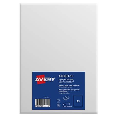 Etichette permanenti in poliestere Avery A3 trasparente 1 et./foglio Conf. 10 fogli - A3L003-10