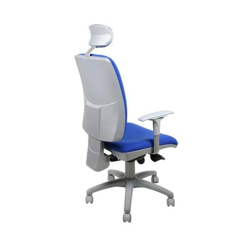Sedia operativa girevole Unisit Dione DIA con poggiatesta - rivestimento Eco blu - con braccioli - DIA/EB