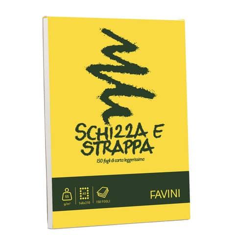 Album da disegno Favini SCHIZZA&STRAPPA in carta naturale liscia 50 g/m² 14,8x21cm (A5) -150fg - A200705